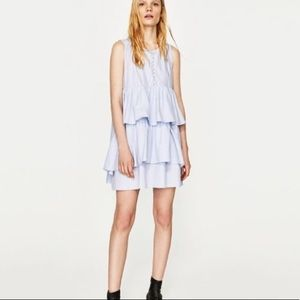 Zara Light Blue Tiered Dress with Pearl Buttons